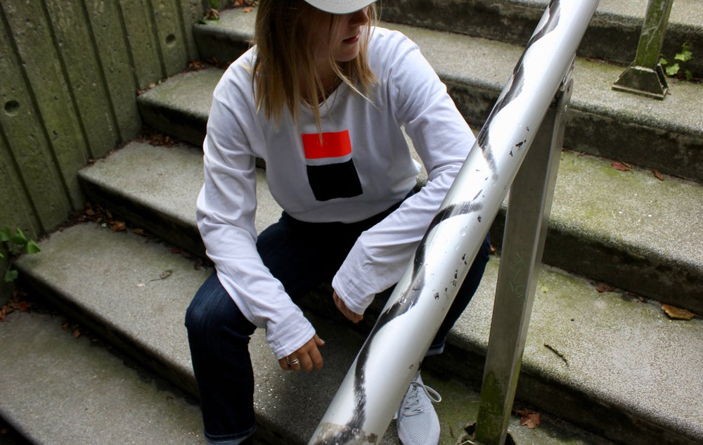 Image of white l/s t-shirt red reflective