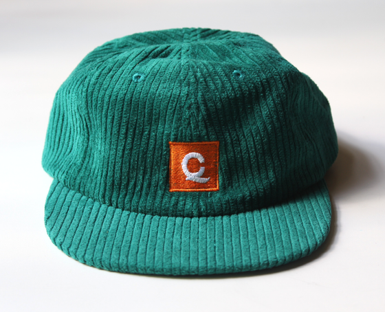 Image of Corduroy Square Logo Cap - Teal Green