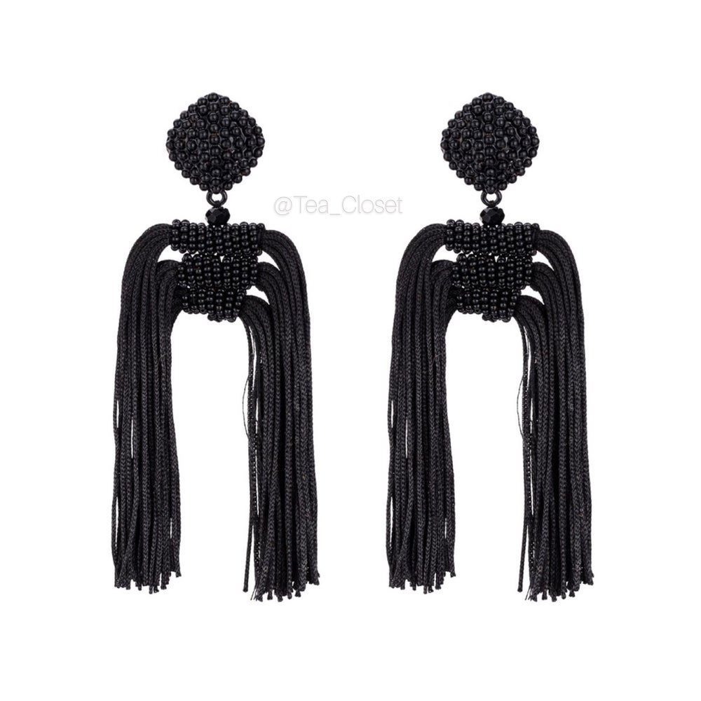 Image of BLACK TASSEL EARRINGS