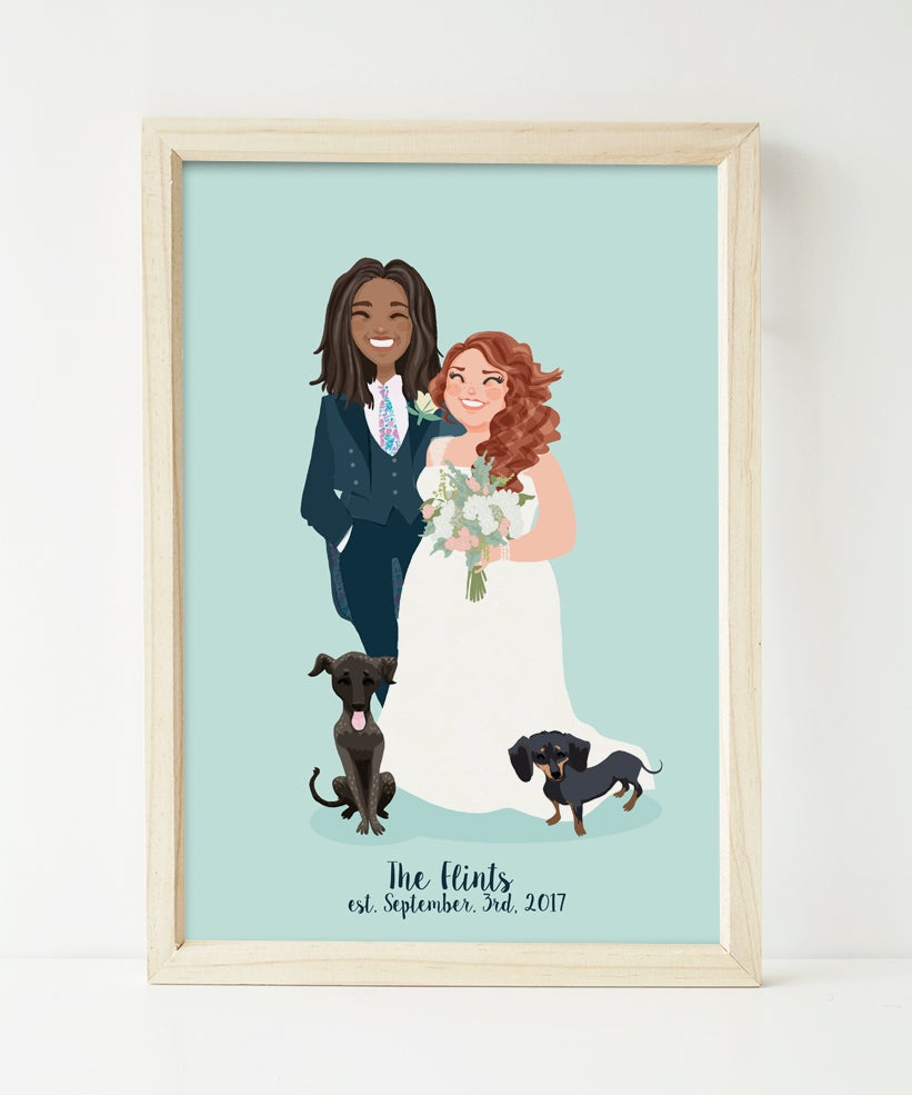 Image of Wedding portrait and two dogs