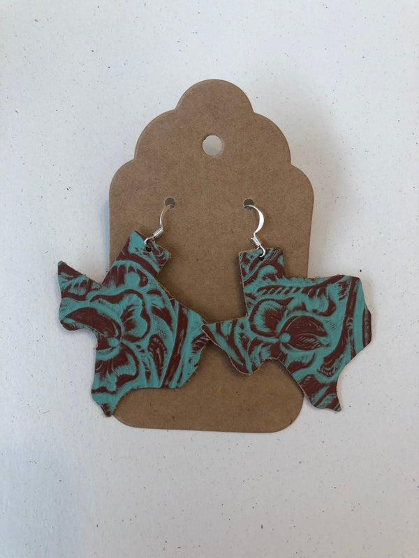 Image of Leather Earrings - Texas Shaped Turquoise Embossed