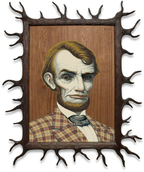 "Image of ""Wood Lincoln"" <br>RARE Limited Edition Print <br>by Mark Ryden"