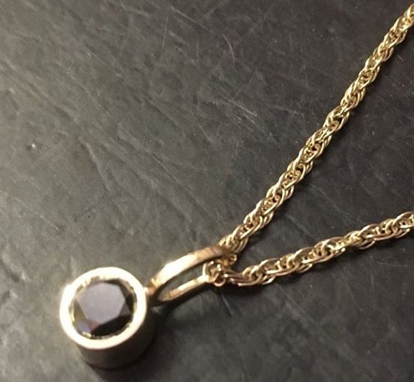 Image of Gold Plate Black Sapphire pendant
