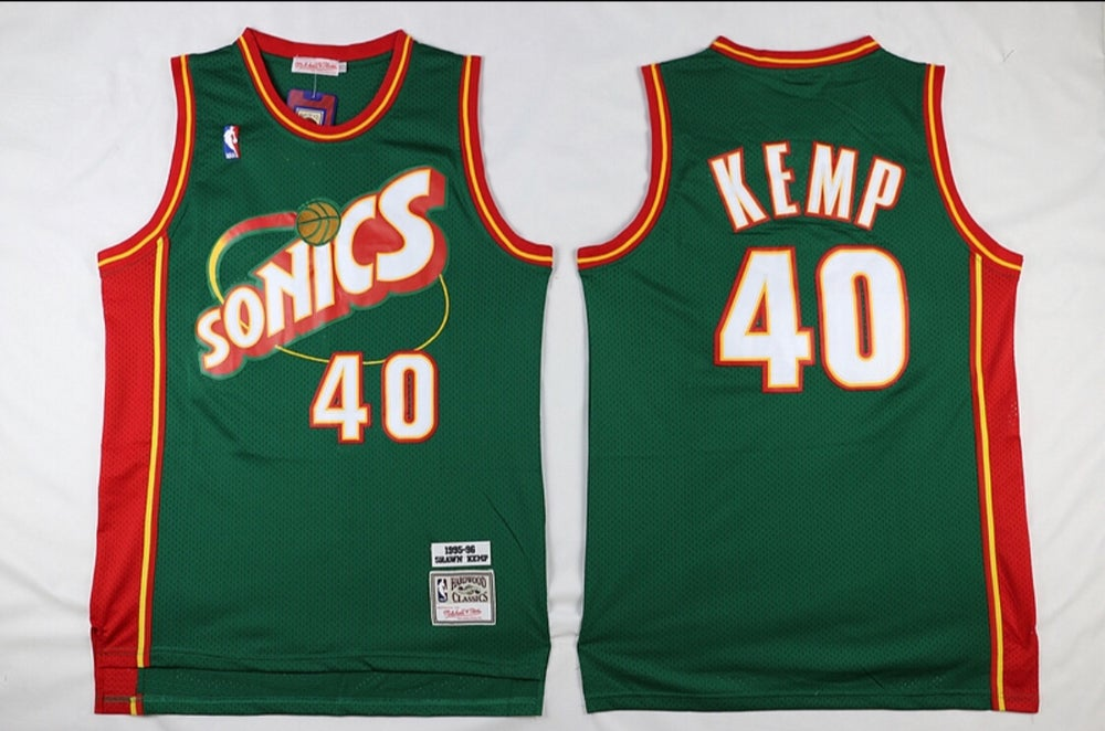 Image of Shawn Kemp super Sonics jersey