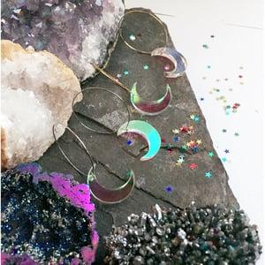 Image of Shimmer Moon Hoop Earrings