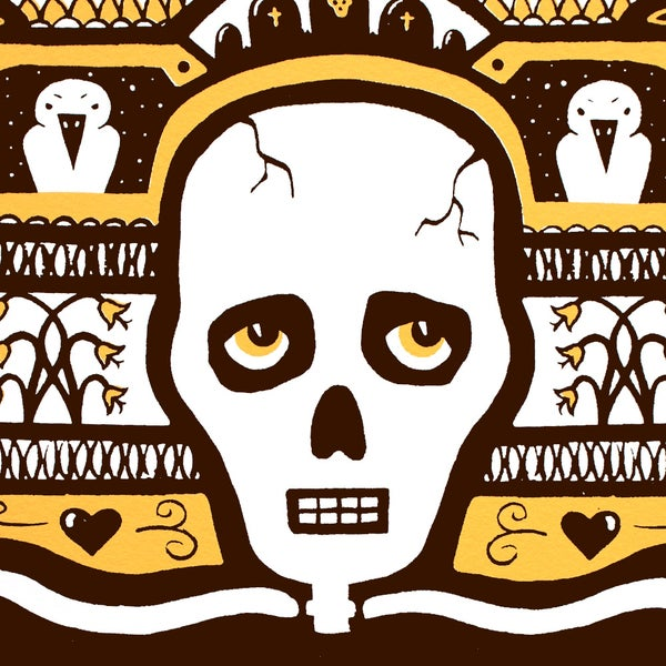 Image of Pensive Skeleton Screen Print