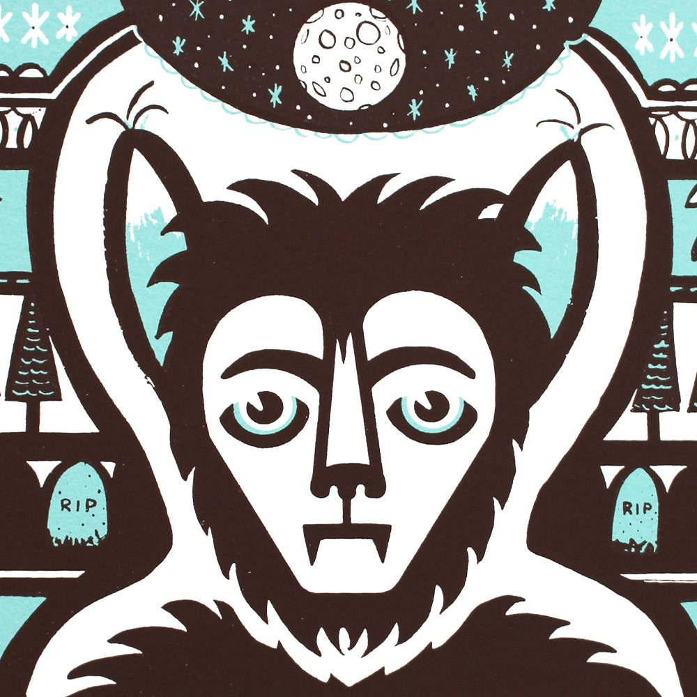 Image of Mournful Wolfman Screen Print
