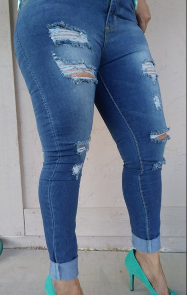 Image of Ripped cotton denim jeans