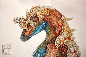 Image of Feathered Deinonychus Giclee print