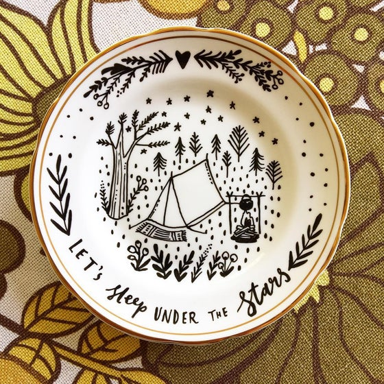 Image of Let's Sleep Under The Stars - Gold and White Vintage Plate