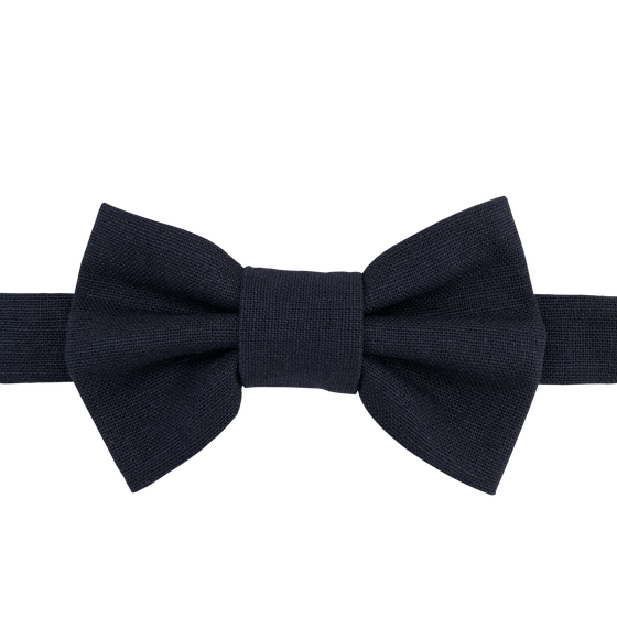 Image of navy linen bow tie