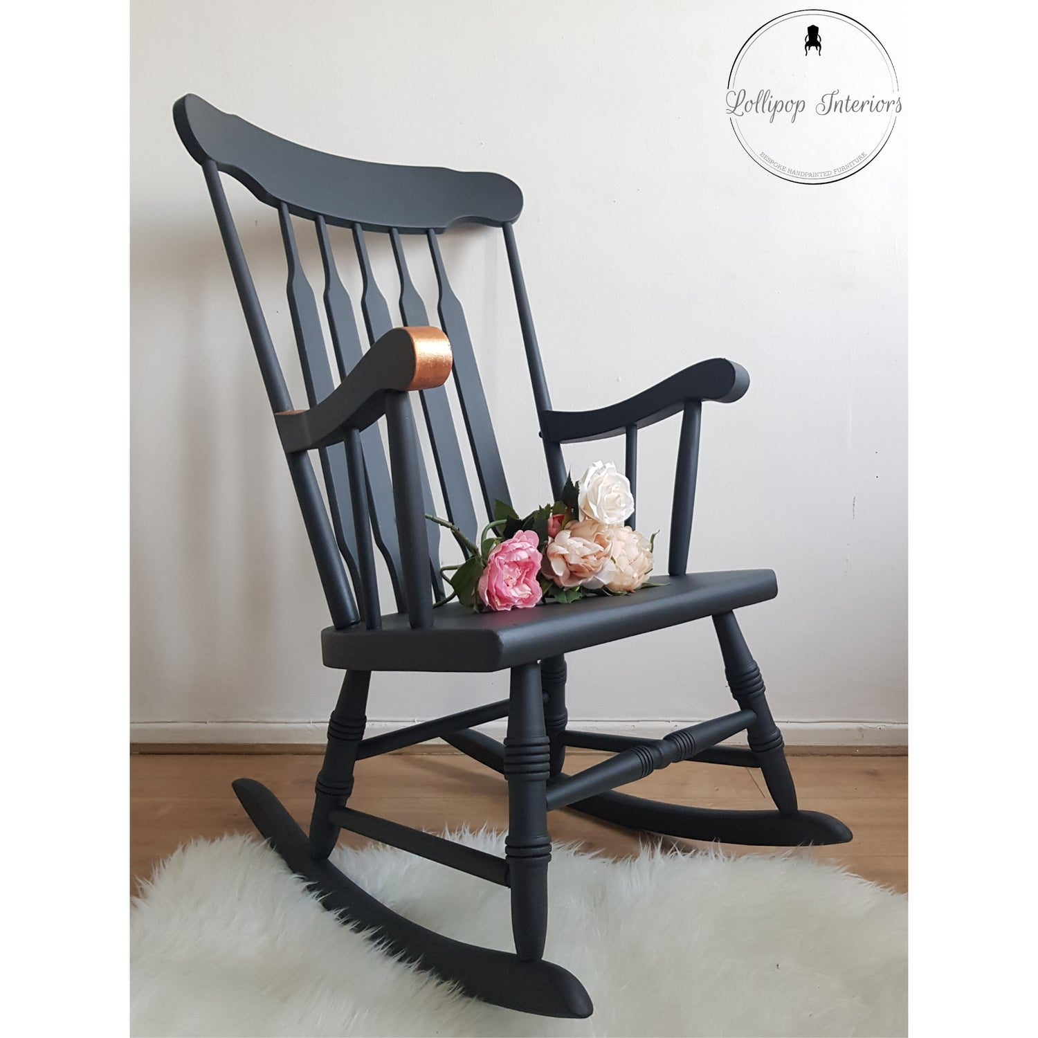 Image of Dark grey and copper leaf rocking chair