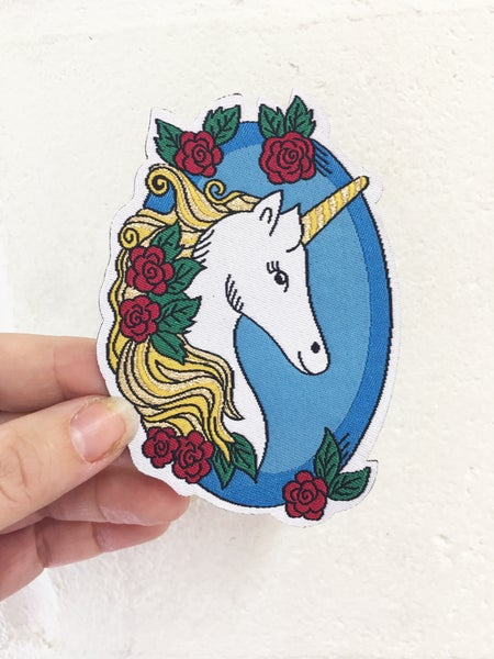 Image of **NEW** Golden Haired Unicorn Iron on Patch