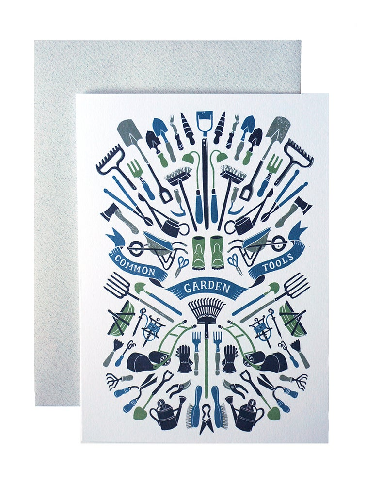 Image of Common Garden Tools - Greetings Card