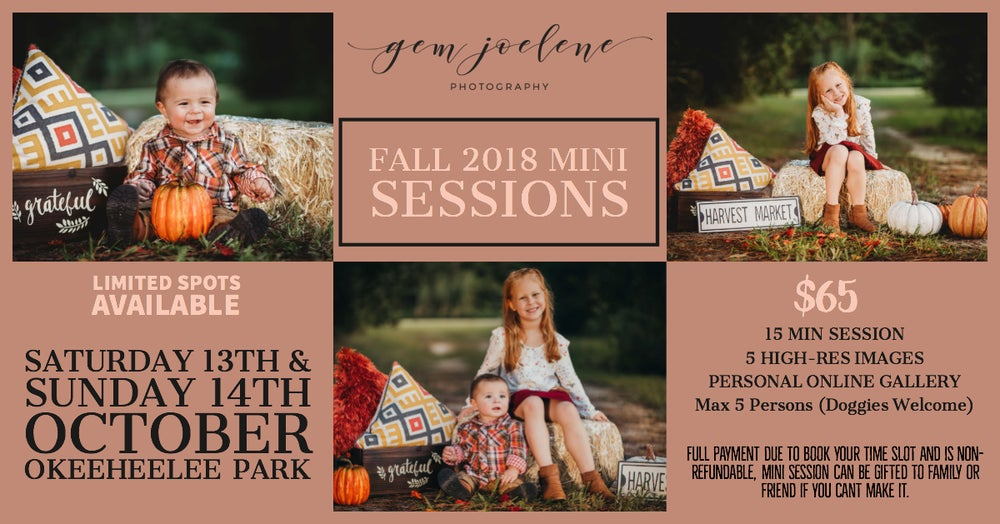 Image of Fall Park Mini Sessions, Sunday 14th Oct, 2018 10am - 4pm