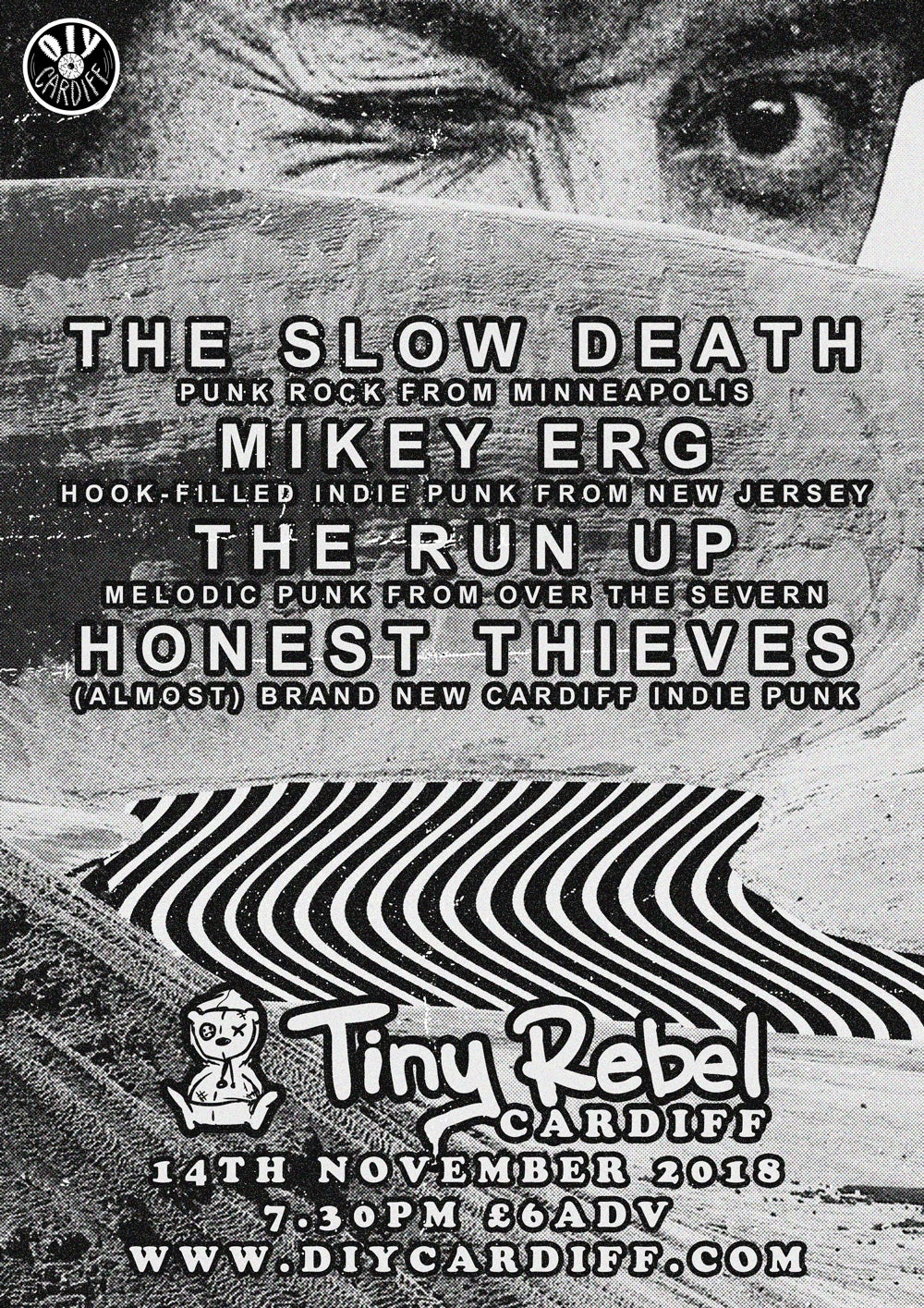 Image of The Slow Death, Mikey Erg, The Run Up, Honest Thieves @ Tiny Rebel, Cardiff