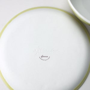 Image of happy lunch set: plate, bowl, in mustard
