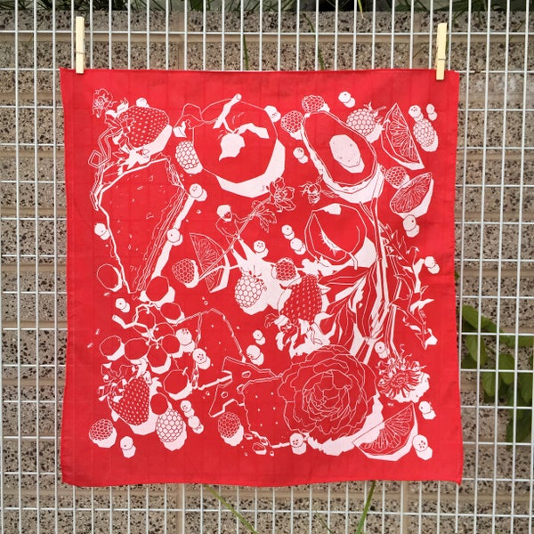 "Image of ""Picnic"" bandana (white on red)"