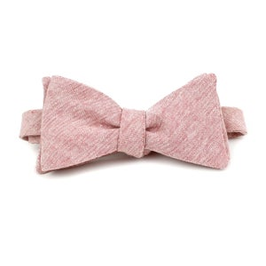 Image of Blush Linen Chambray Pointed Bow Tie