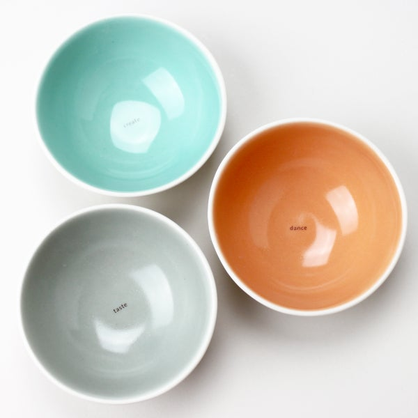 Image of roly-poly bowls, set of three, aqua, tangerine, sage