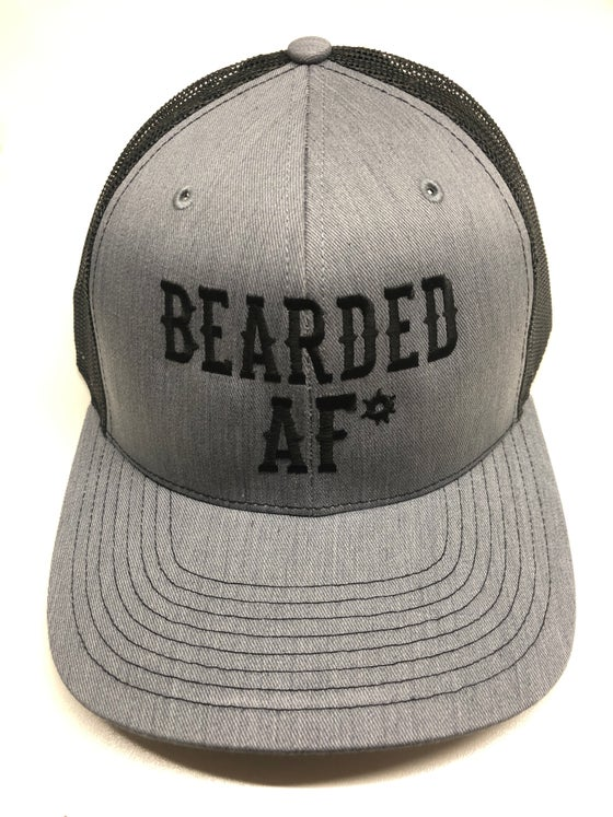 Image of BEARDED AF* BLK/GRY MESH SNAPBACK
