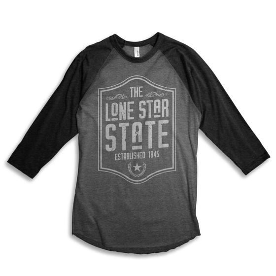 Image of Lone Star State - 3/4 Baseball tee (gray)