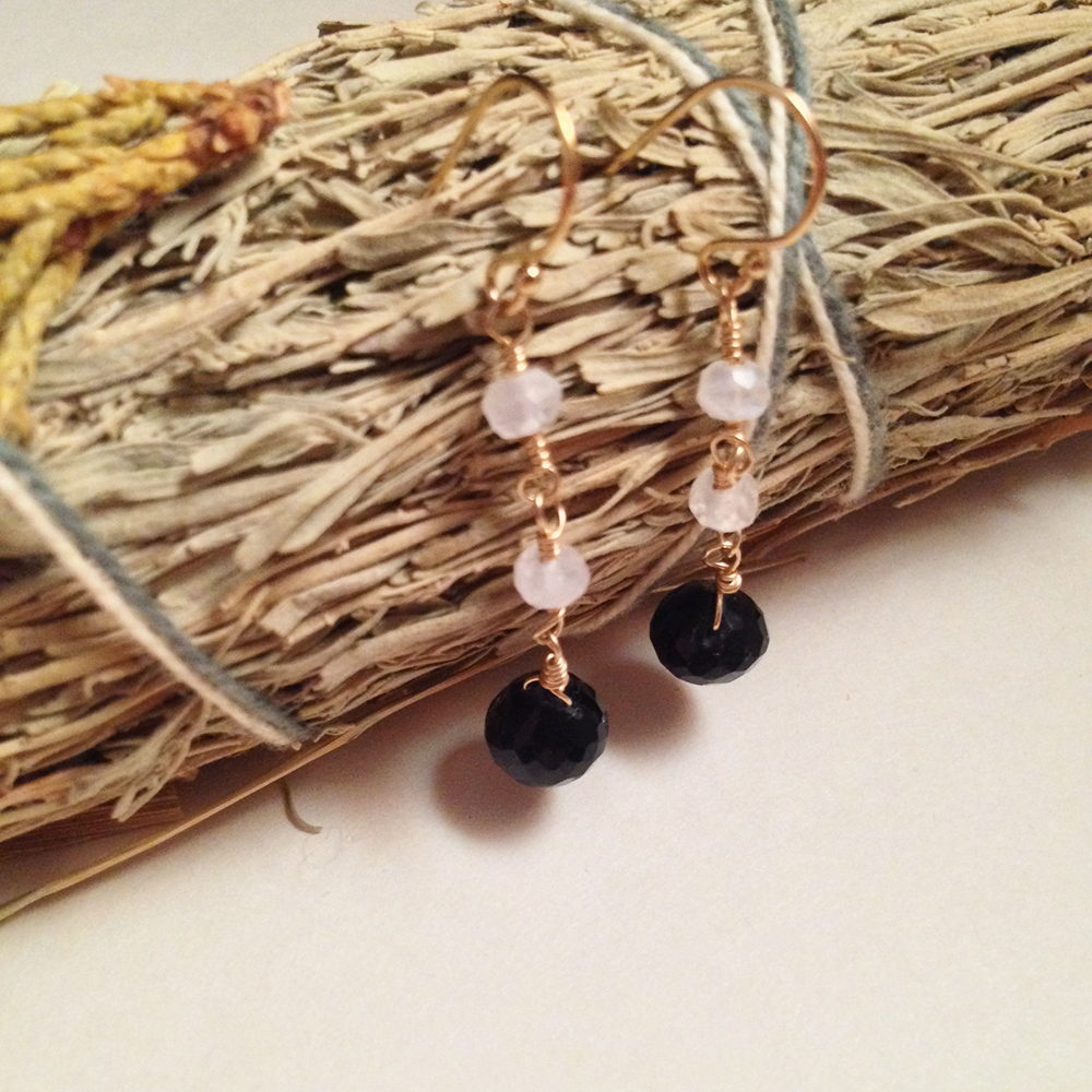 Image of The Star Iolite Rainbow Moonstone Natural Gemstone Gold Filled Earrings | Handmade Minimalist Witch