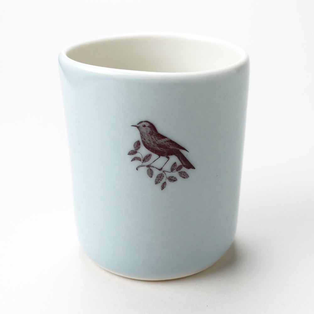 Image of 10oz tumbler with warbler, ocean