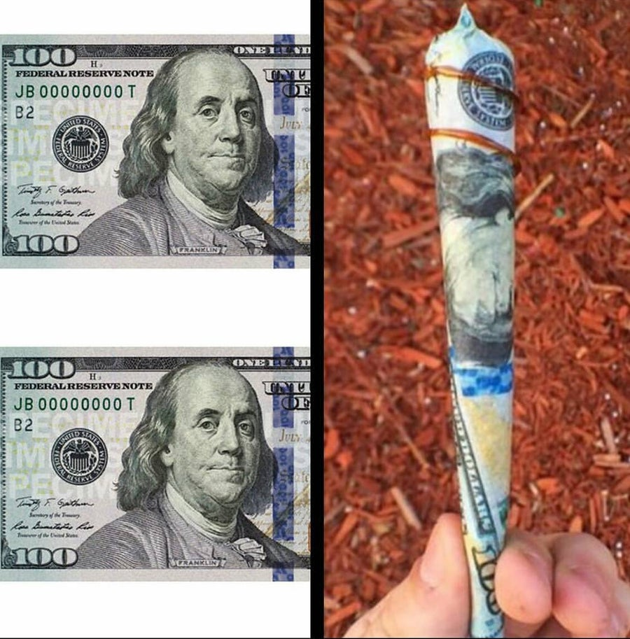 Image of 100 dollar bill rolling papers