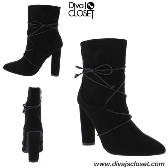 Image of Black Block Heel Ankle Boots