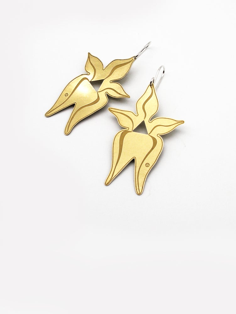 Image of FLORA EARRING: COWSLIP ORCHID (BRASS)