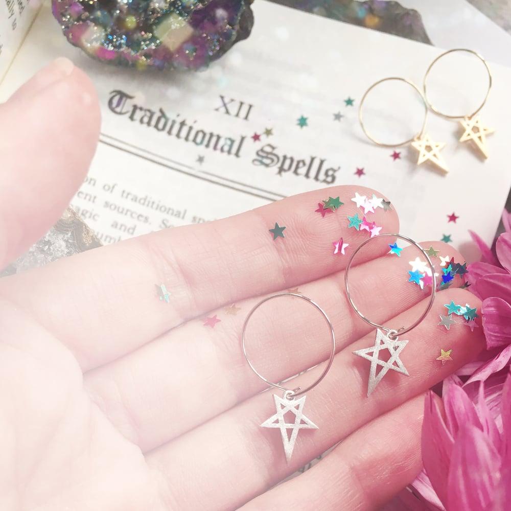 Image of Pentagram Hoop Earrings - Silver or Gold tone finish