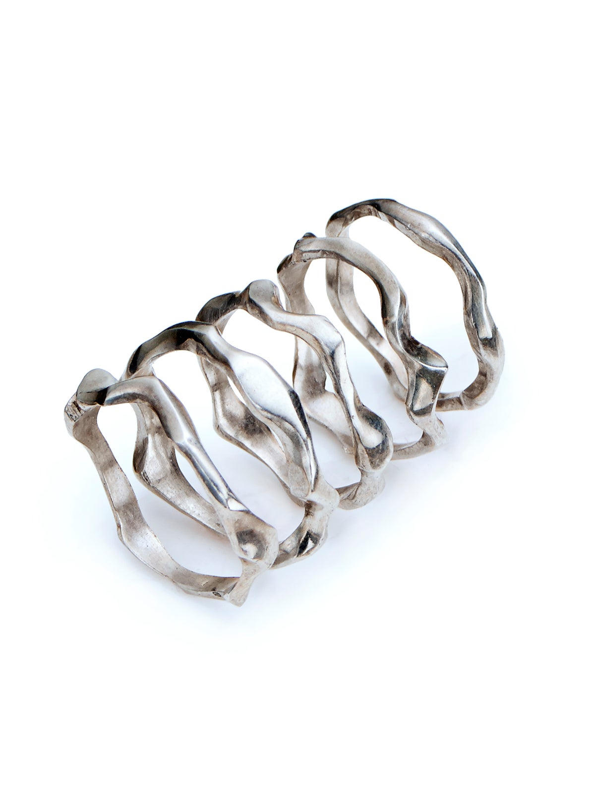 Hand carved organic silver ring