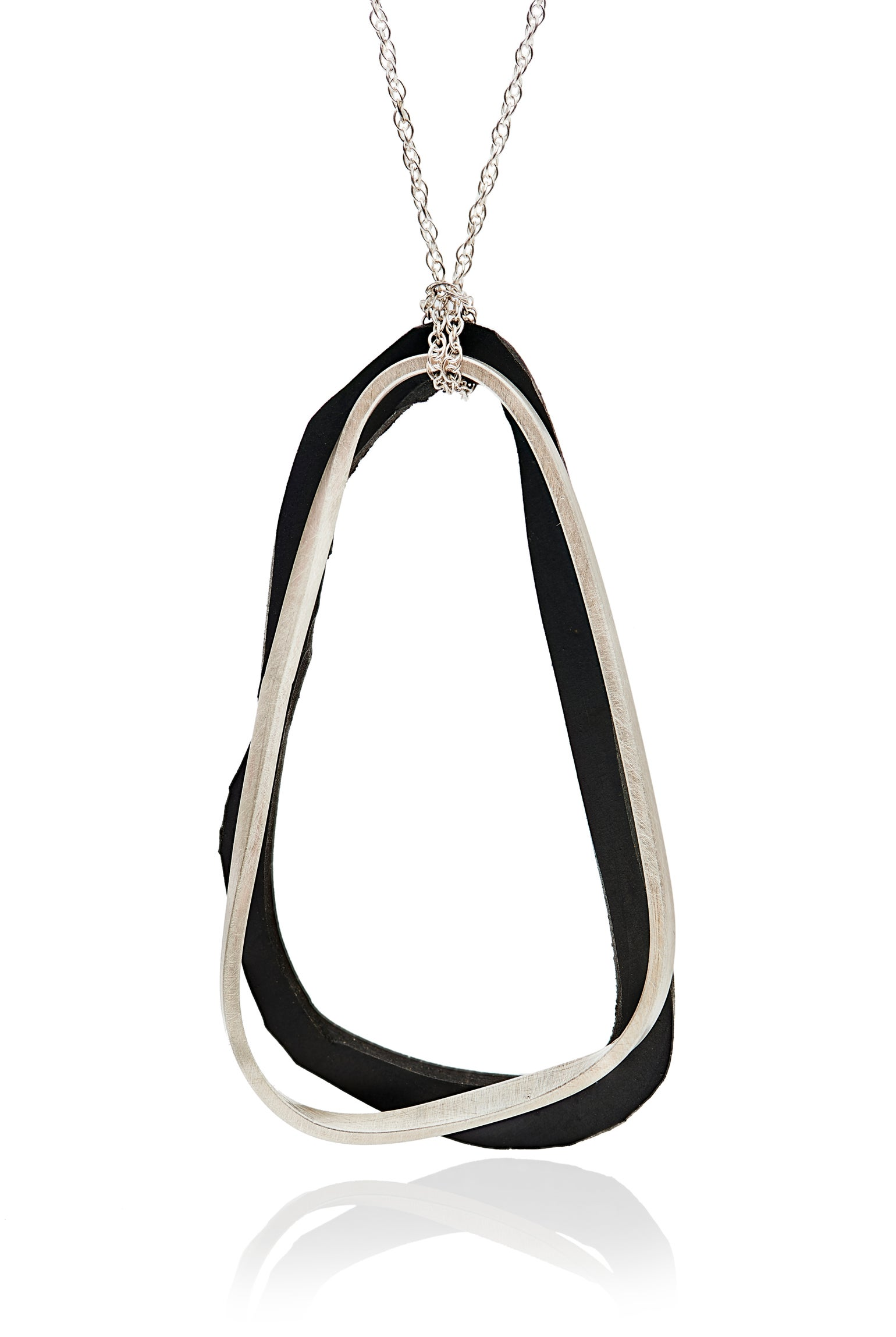 Image of Me and my shadow silver and neoprene necklace