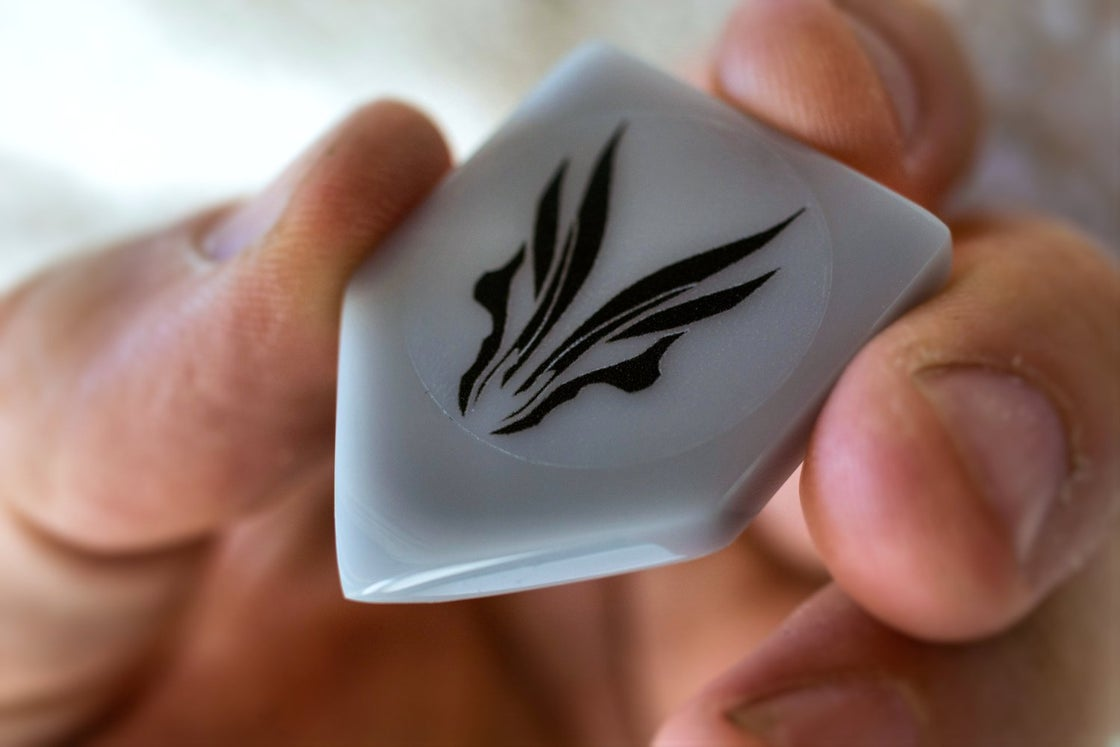 Image of The original 5mm cell cast 'ACRYLIC ERGO' plectrums !