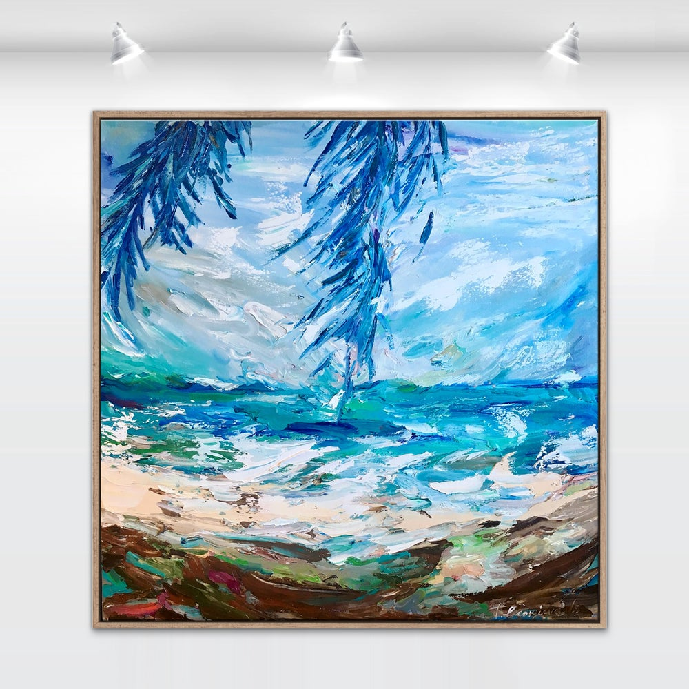 Image of 'Windy day under the palms' - 90x90cm FRAMED