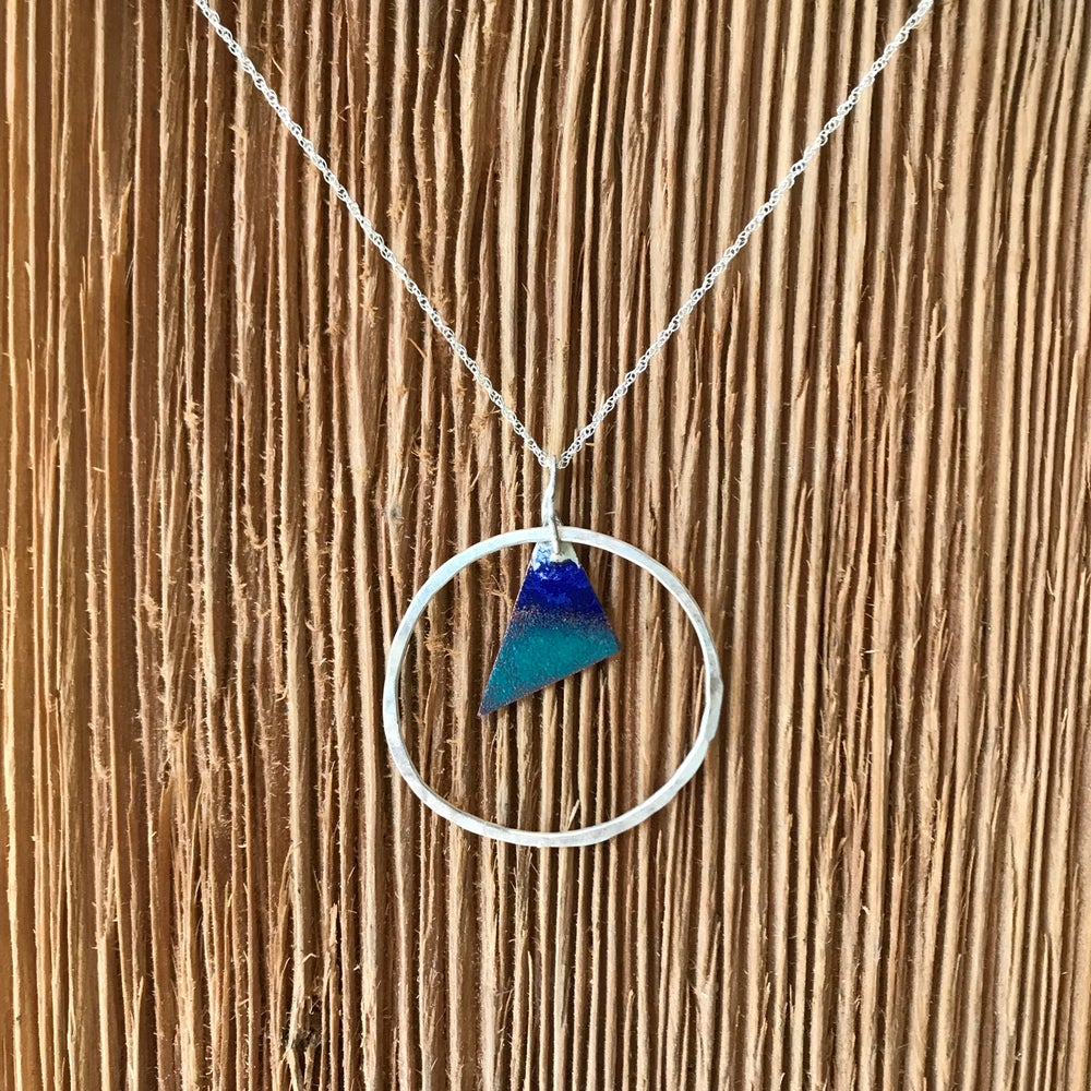 Image of Blue Sail Torch Enameled Necklace