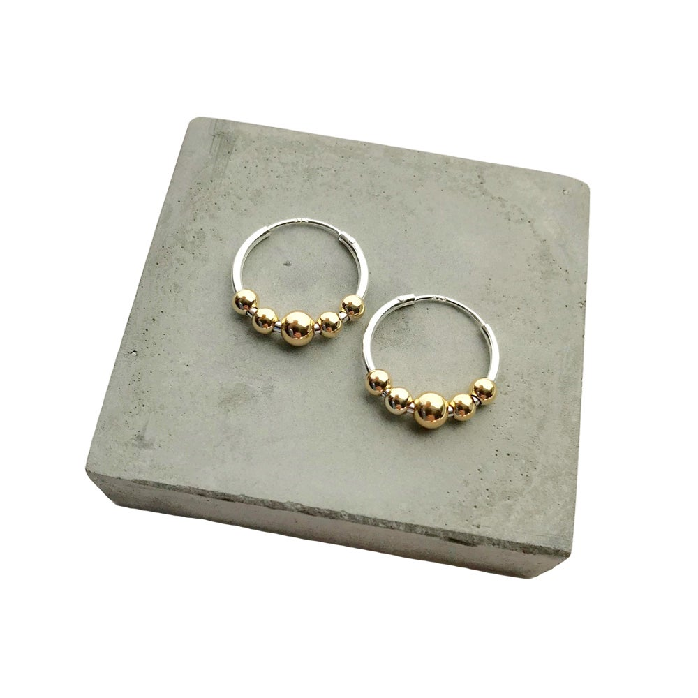 Image of Silver hoops with 5 gold beads