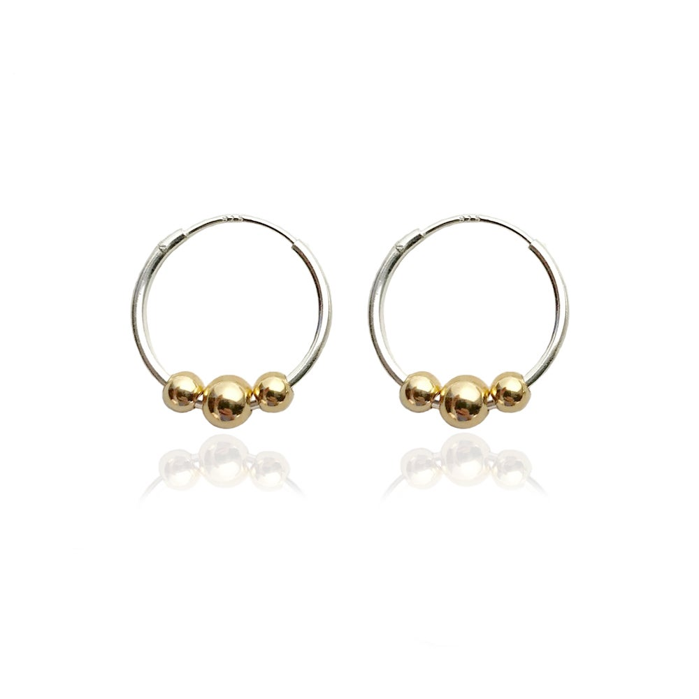Image of Silver hoops with 3 gold beads
