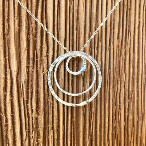 Image of Fine Silver 3 Circle Necklace