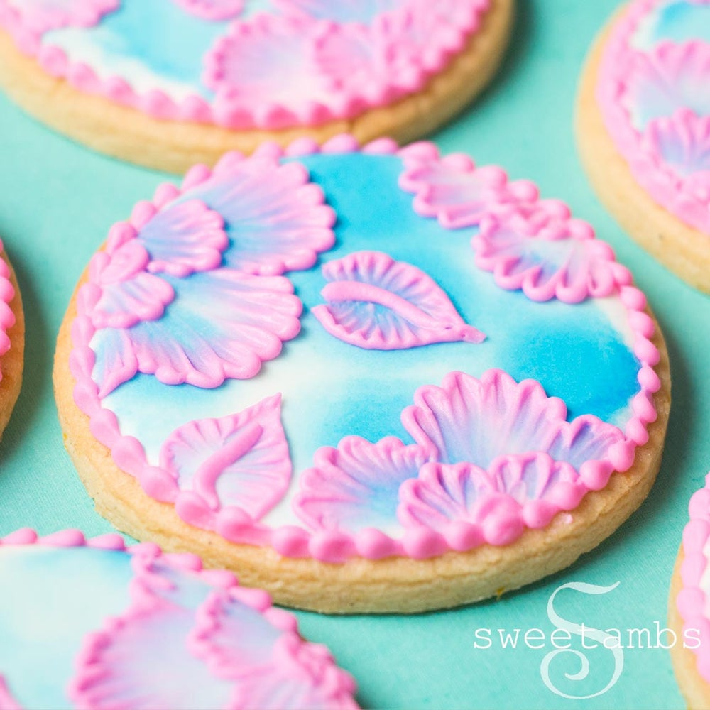 Image of 12 Watercolor Brush Embroidered Cookies - FREE SHIPPING