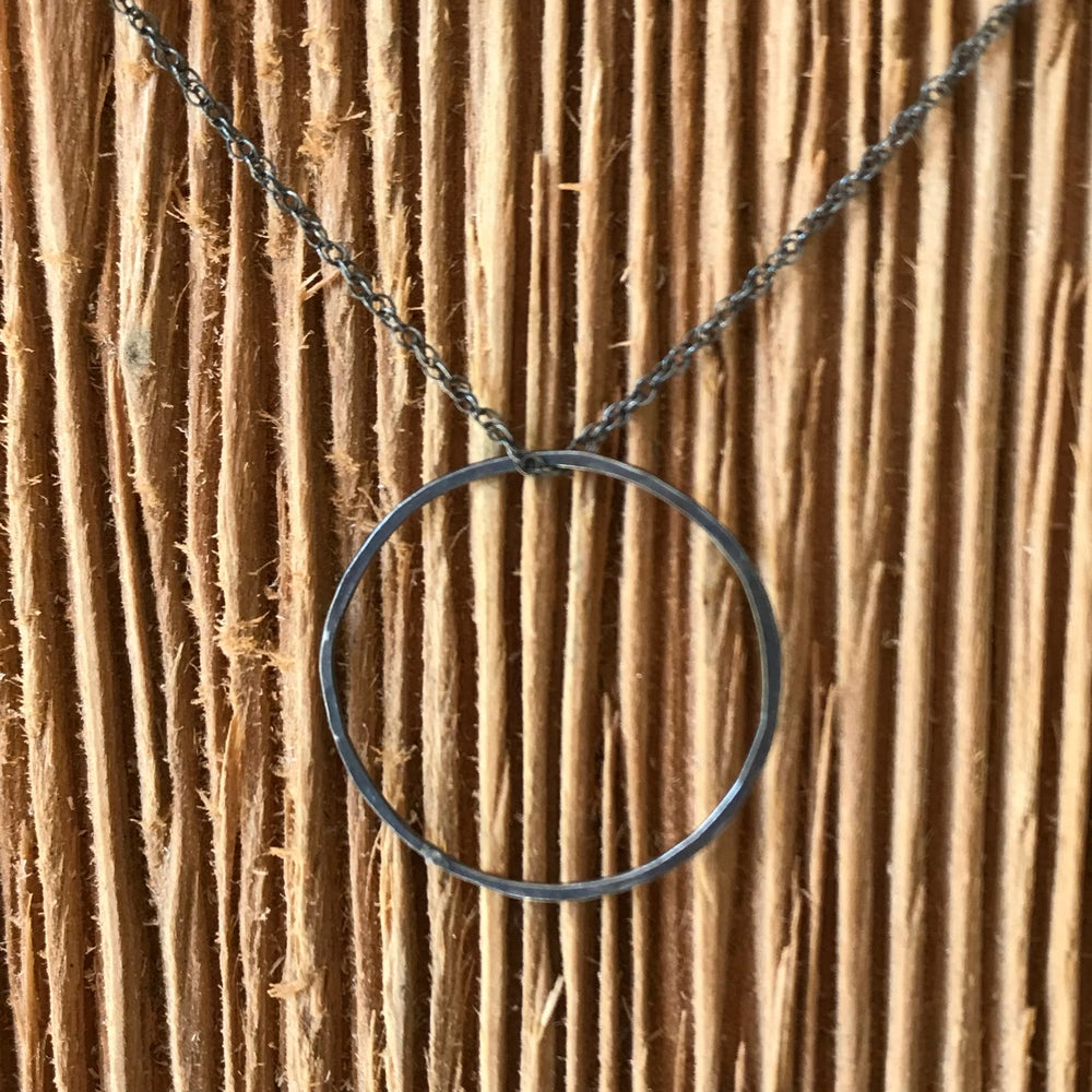 Image of Oxidized Silver Circle Necklace