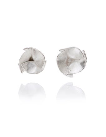 Image of Folded cup silver stud earrings