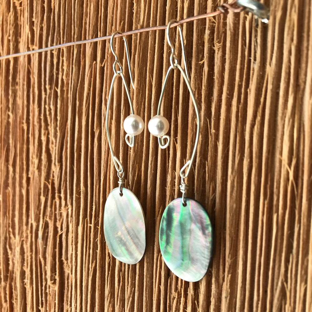 Image of Fish Lure Inspired Earrings- Abalone and Pearl
