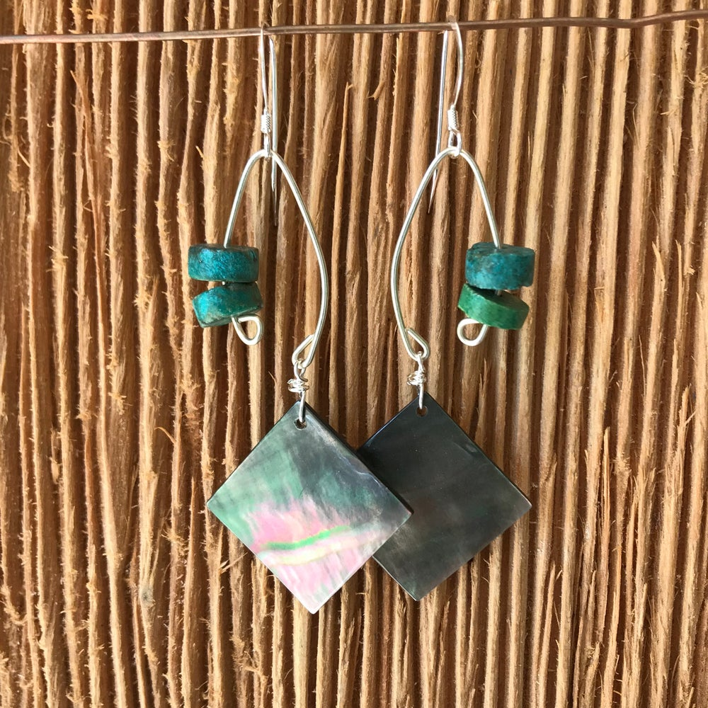 Image of Fish Lure Inspired Earrings- Turquoise and Abalone
