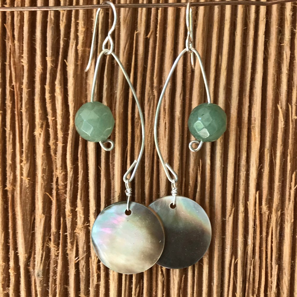 Image of Fish Lure Inspired Earrings- Abalone and Green Aventurine