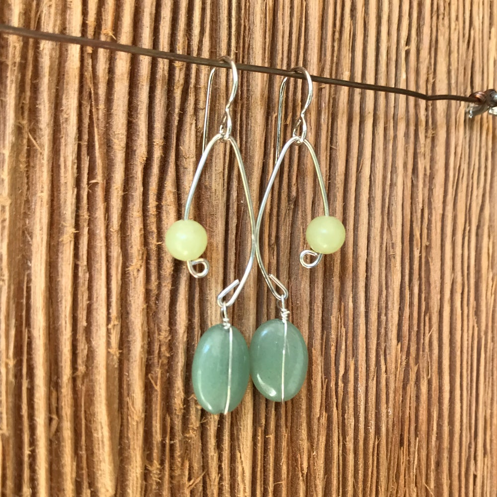 Image of Fish Lure Inspired Earrings- Green Aventurine and Jade