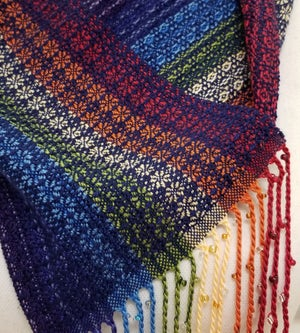 Image of Cowl - Rainbow with Navy and Beaded Fringe