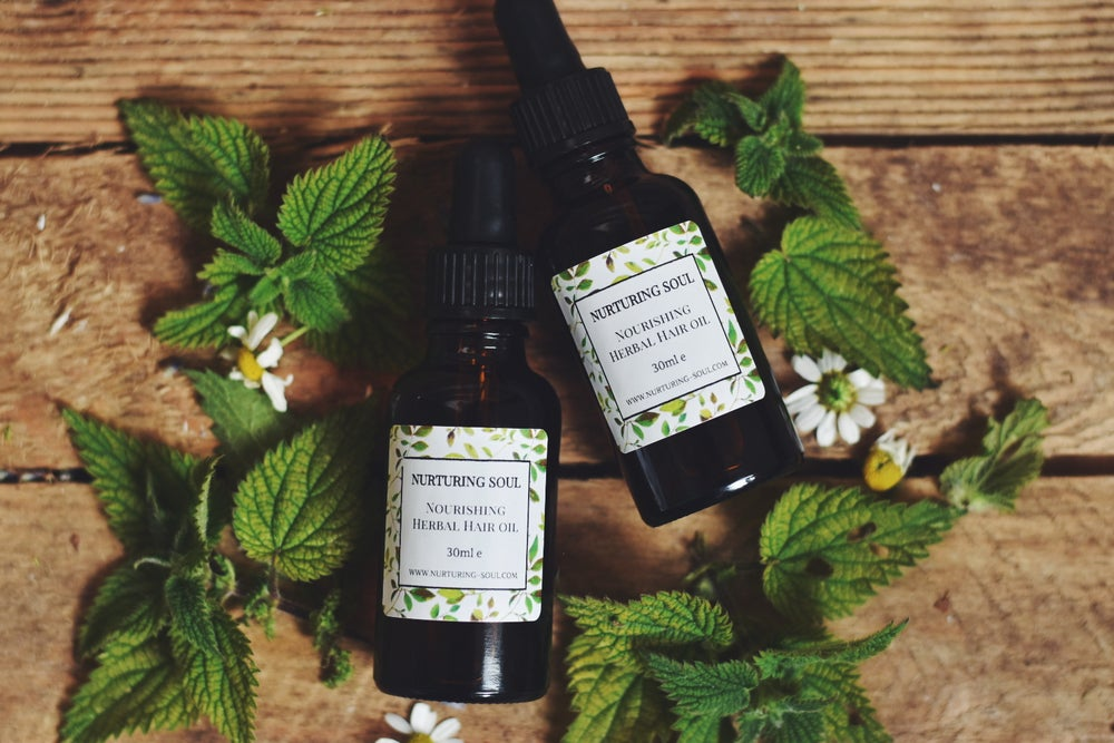 Image of Nourishing Herbal Hair Oil with Nettle, Rosemary and Hemp extracts