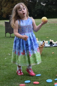 Image of Agapanthus Print Pinafore Dress with Smocking